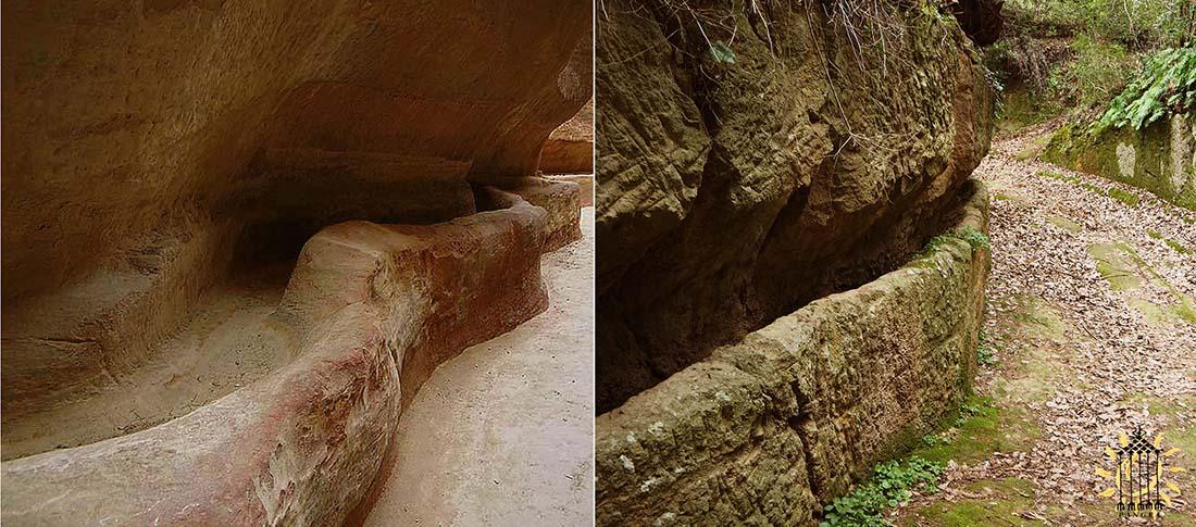 1) Canale scavati nell'arenaria nel Siq di Petra 2) Canale scavato nel tufo nelle Vie Cave di Pitigliano