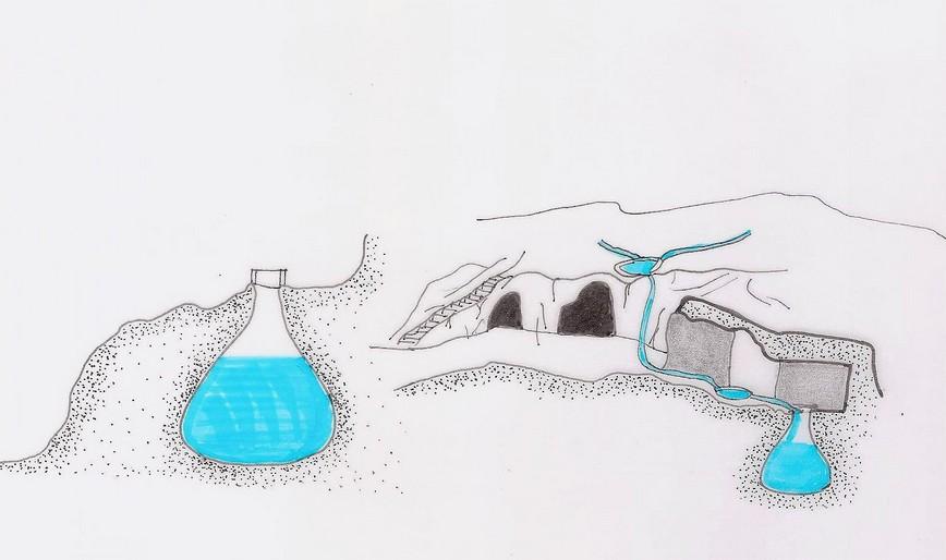Sezione delle grotte con cisterne a campana