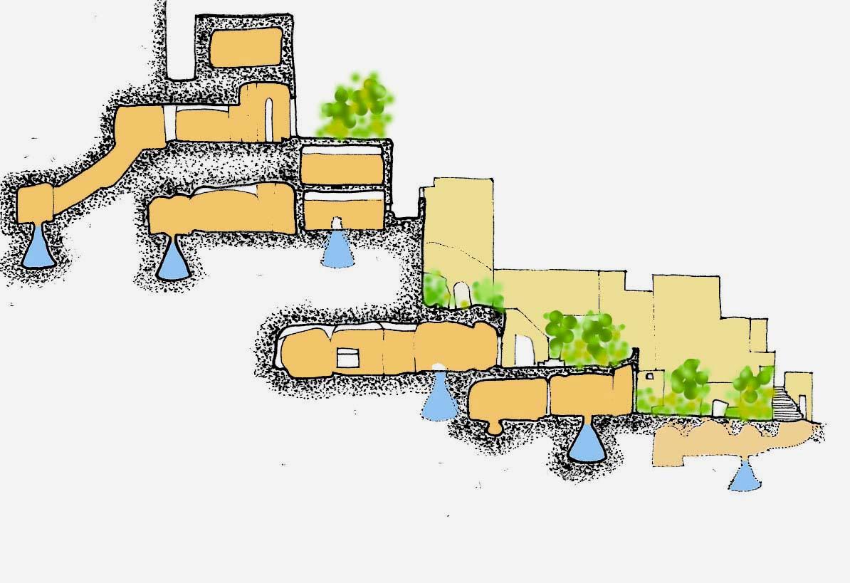 Matera – Sezione dei grandi complessi ipogei formati da diversi piani sovrapposti. Si creano strade e giardini pensili organizzati su terrazzi degradanti e cisterne a campana nel fondo degli ipogei.