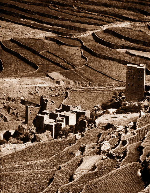 Sopra e sotto - Yemen del Nord- Sistemi di terrazze con torri di guardia