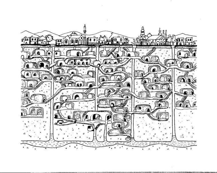 La città sotterranea di Derinkuyu ( Turchia)