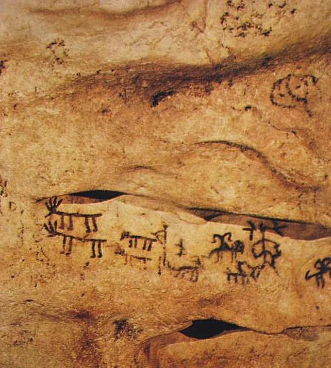 Pitture di animali e figure umane ( Porto Badisco)
