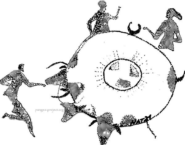 Tassili N'Ajjer, Algeria : enigmatica rappresentazione del Neolitico Sahariano dove si ritrova la forma a doppio cerchio