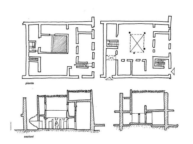Piante e sezioni di una casa a patio