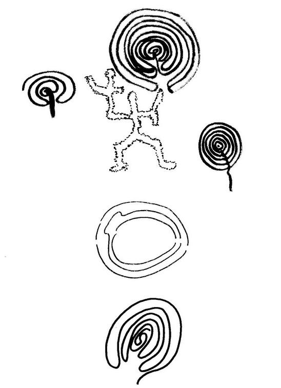 Forme a meandro e labirinto nei graffiti rupestri neolitici.