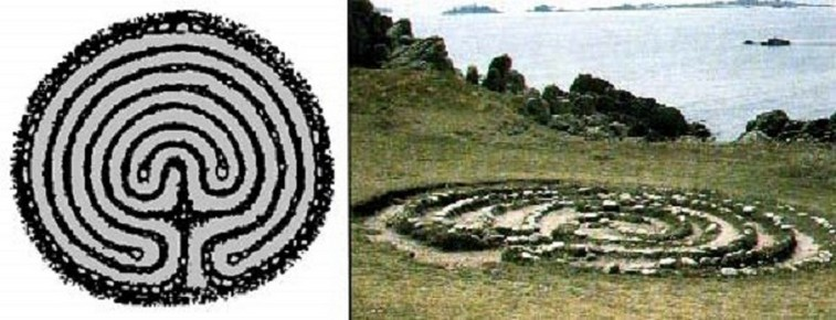 Labirinto di pietre a Scilly (Inghilterra)