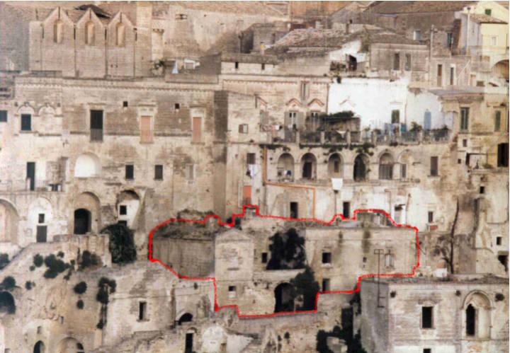 La parte interessata dall'intervento di restauro nei Sassi di Matera
