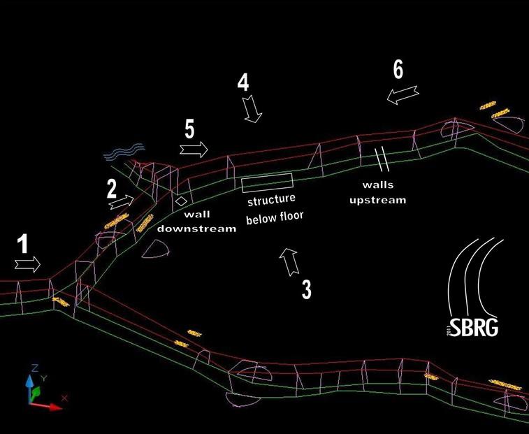 Immagine del tratto del tunnel dove si trova la struttura scoperta con il georadar (Prof.ssa Lucia Krasovec Lucas)