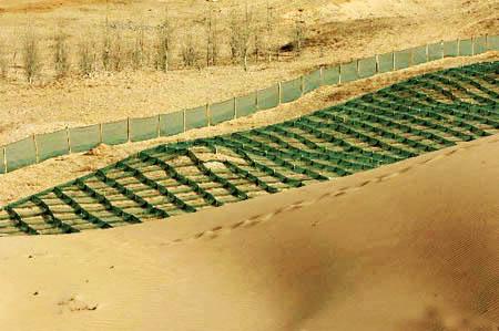 Desrto Tianmo nella provincia di Hebei in Cina barriere per la protezione contro l'insabbiamento