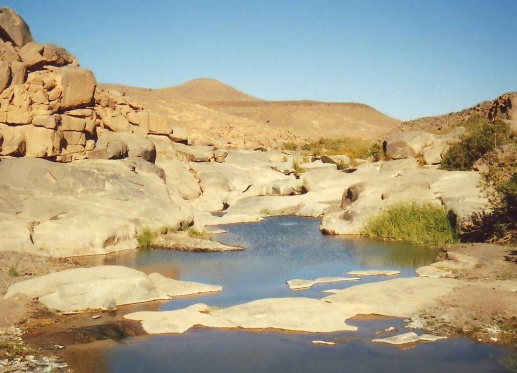 Le ghelte sono serbatoi naturali di acqua piovana rari nell'assolato deserto.