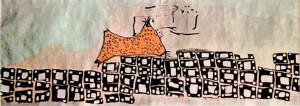 Rappresentazione pittorica murale di Catal Huyuk (Anatolia) e del vulcano Hasan Dag in eruzione risalente al 6200 a.C circa