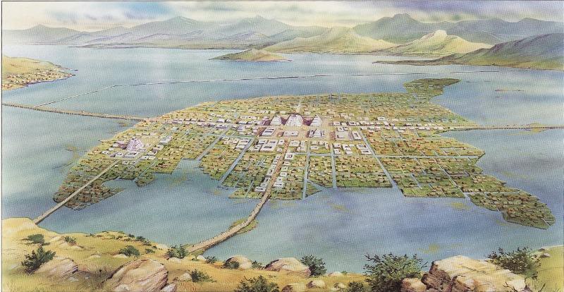 Ricostruzione della città di Tenochtitlan (Messico)