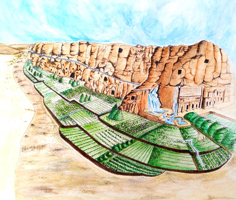 Proposta di ricostruzione del sistema delle acque e dei terrazzamenti coltivati del Wadi al Mataha. Restauro dell'ecosistema con il ripristino della vegetazione. ( Acquerello di Natalia Tarabella - Modificato da disegno di P.Laureano)