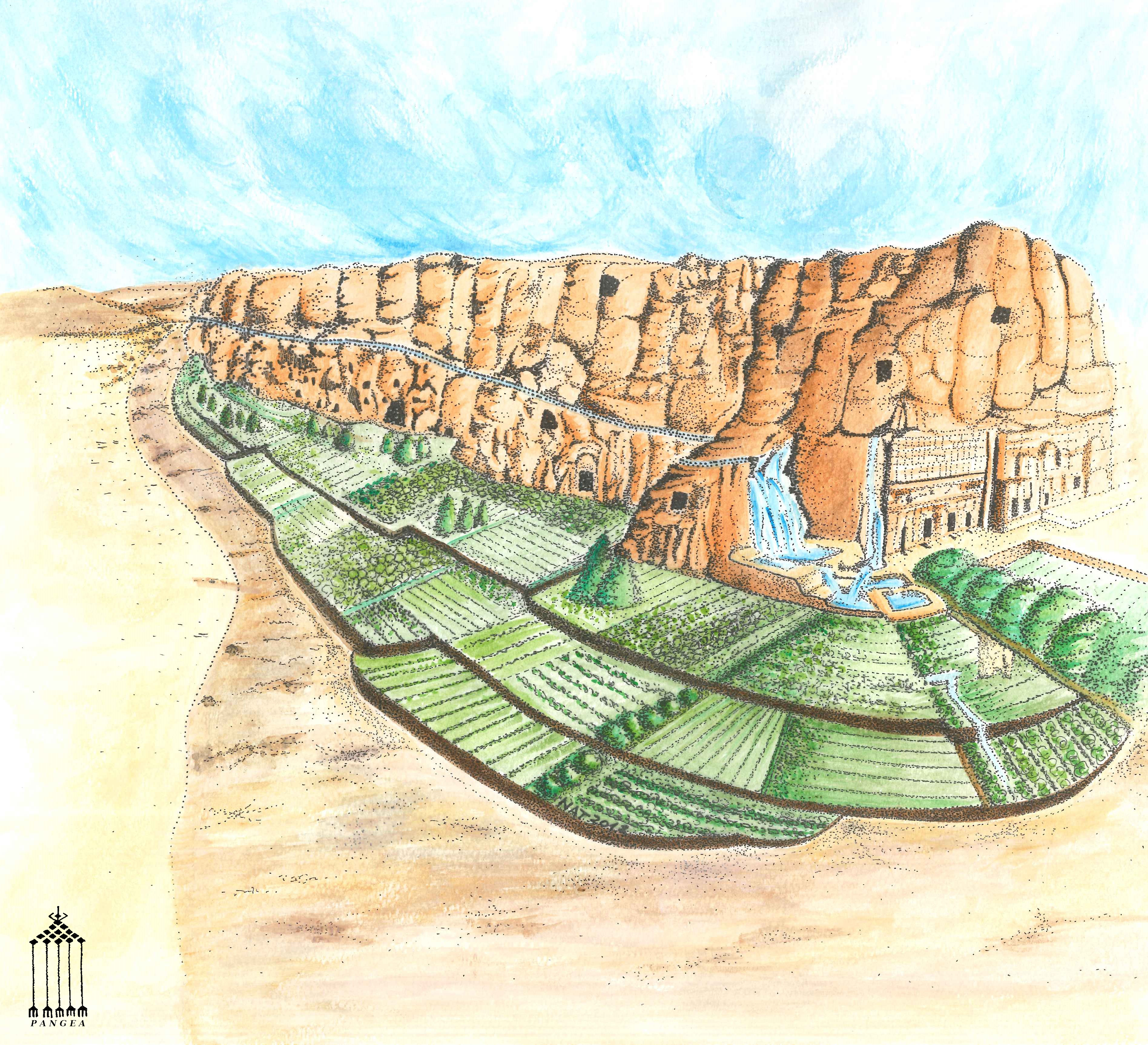 Petra - Reconstruction of system of water terraces planted