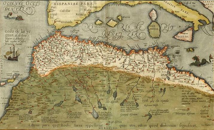 Nella carta di Abraham Ortelius sono rappresentate, con grande precisione, le località sahariane e il sistema degli wadi e della sebkha