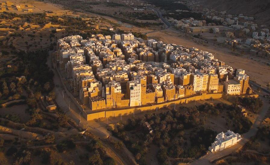 Foto aerea di Shibam